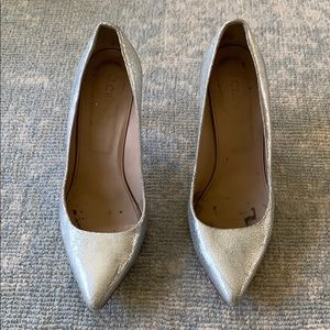 Jcrew Everly Silver Metallic Heels